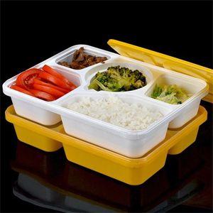 Cajas de embalaje de alimentos Material plástico 5 Celosías Color puro Caja de almuerzo de moda Business Affairs Desechables Contenedores para llevar 1 95qlE1