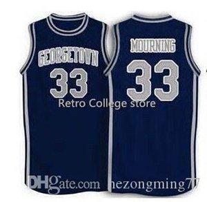 Gerileme Basketbol Jersey Erkekler dikişli özel Herhangi Numarası Adı Formalar Retro 1994 Georgetown # 33 Alonzo Mourning bule kaliteli