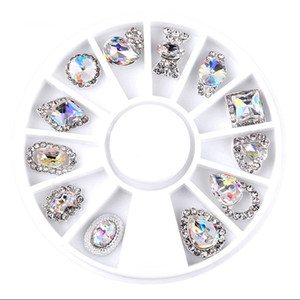 New 12pcs set Charm Alloy Pearl Diamonds 3D Nail Art Decorations Shiny Crystal Jewelry Designs Manicure DIY Accessory