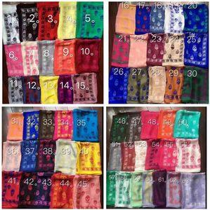 kadınlar ve erkekler En iyi kalite% 100 pur ipek saten moda kadın marka eşarplar pashmina şallar için 71 renk marka İpek kafatası eşarp