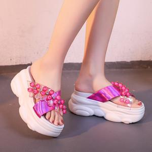 صندلالأزياء الصندل Pvc النساء الكريستال مثير صيف 2020 Super High Hebs Platform Slides Woman Chunky Outside Slipper