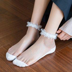 Damas calcetines ultrafinos verano calcetines transparentes cristalino hermoso de encaje elástico corto de encaje para las mujeres