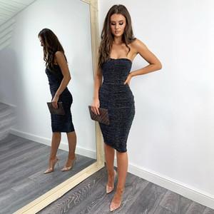 Parlak İpek Gece Kulübü Parti Modelleri Straplez Seksi BODYCON Elbise Pileli Doğal Renk Elbiseler Kadınlar Tasarımcı Giyim