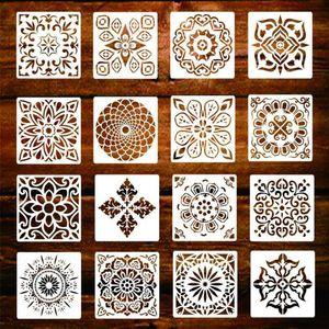 16-Pack (6x6 дюймов) Картина рисования трафаретов Mandala Шаблон Набор для камней пола настенная плитка Ткань Дровяной DIY