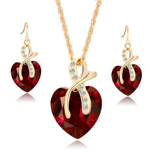 High end love shape creative high quality cubic zirconia jewelry set crystal jewelry set wholesale custom
