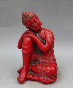 Collezione cinese lacquerware intagliato statua Buddha Sakyamuni
