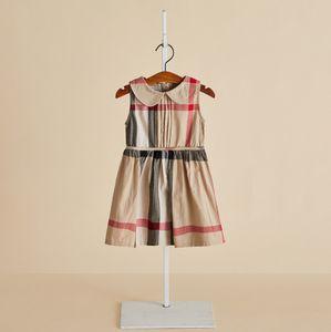 2019 Yaz Kız elbiseler çocukların pamuk ekose prenses elbise çocuklar tasarımcı kıyafetleri moda kız bebek yaka yelek pileli elbise F6976