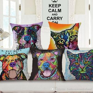 27 Styles Oil Paintings Dogs Cats Cushion Cover Colorful Pit Bull Chihuahua Dog Cat Cushions Covers Decorative Sofa Linen Cotton Pillow Case