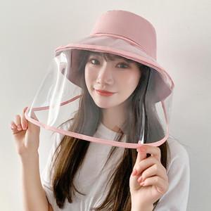 Cap Sun anti-fog Panama Hat Unisex Verão anti-saliva Bucket Chapéus Big Brim proteção TPU Transparente chapéu removível Fisherman