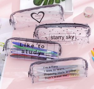 Simple Transparent Mesh Pencil Pouch Office School Pen Case Bag Nylon Zipper Pencil Bag Stationery Kawaii Bag