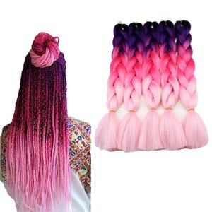 Synthetic hair 24inch 100g synthetic jumbo braiding hair extension two tone ombre color cheap jumbo ombre extensions