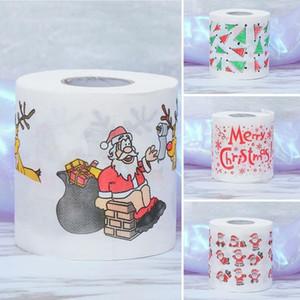 Bath Papier Weihnachten Printed Startseite Weihnachtsmann Bad Toilette Rollenpapier Christma Supplies Weihnachtsdekor-Gewebe 10cm * 10cm Toilettenpapier