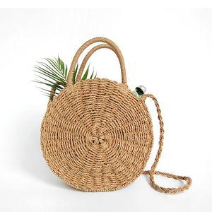Woven Rodada Straw Handbag Retro Rattan Mulheres Shoulder Bag Boho Summer Beach Messenger Bags Fashion Designer feminina bolsa Totes