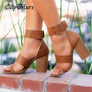 Mulheres de salto alto senhoras sandálias de verão aberto toe gladiador sapatos bloquear saltos fivela sandálias de correia grandes zapatos tamanho mujer