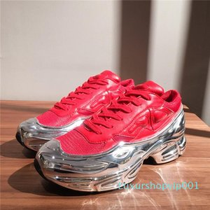 Lastest Women Sneaekers Raf Simons Oversized Sneaker, Men Transparent sole Lace-up Tennis Athletic Multicolor Ozweego Trainers with box cv-0