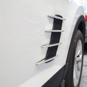 2 piezas Shark Gills Car Styling Exterior Side 3D Vent Air Flow Fender Chrome ABS Sticker Decal Car Truck Stickers