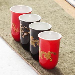 Ceramic Red dragão preto do copo de chá Teaware de chá de porcelana pequena tigela de pintados à mão xícara de chá