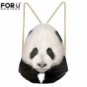 Designer-FORUDESIGNS bonito 3D animal Panda impressão Meninas com cordão Bolsa Casual Praia Viagem Mochilas Chidren Bundle armazenamento Mochilas escolares