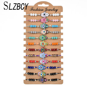 12 pcs/set Fashion Enamel Fatima Hand Adjustable Bracelets Women Men Evil Eye Crystal  Friendship Bracelet Charms Jewelry