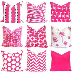 Nuova casa Tessile Simple Pink geometrica o un'immagine poggiatesta federa Divano poliestere copertura del cuscino 4901