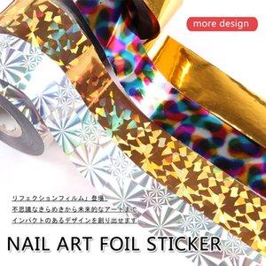 tickers & Decals 1pcs lot 2.5cm*100m Nail Foils Polish Stickers gold silver Starry Paper Transfer Foil Wraps Adhesive Decals Nail Art Dec...
