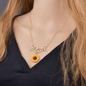 perlas y ramas de hoja dama colgante collar de girasol accesorios populares de girasol