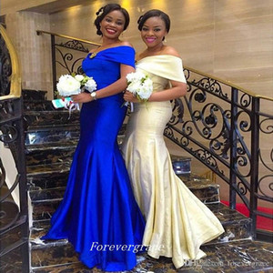 2019 Royal Blue Champagne Bridesmaid Dress Mermaid Off The Shoulder Long Satin Maid of Honor Dress Wedding Guest Gown Custom Made Plus Size