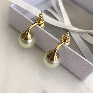 With BOX Fashion brand Have stamps pearl designer earrings for lady women Party wedding lovers gift engagement luxury jewelry for Bride HB04