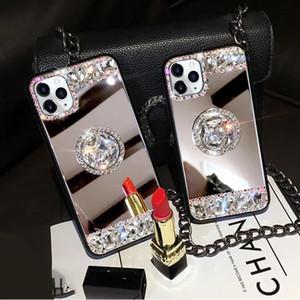 고급 디자이너 전화 케이스 아이폰 아이폰 7 8 플러스 X XR XMAX coque 아이폰에 대한 11 프로 최대 거울 DIY 다이아몬드 반짝이 케이스