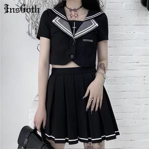 InsGoth Harajuku Gothic JK Униформа Женщины Black двухкусочный Комплекты Лоскутная Crop футболку и наборы мини плиссированные юбки Косплей Стиль