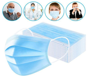 DHL FREE SHIPPING Face Mask Quality Assurance 7339044 Meltblown Mouth Disposable Mascherine Face Masks Nonwove 3 Layer Ply Anti-Dust 95%