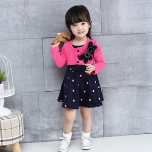 Girl All Cotton Fake Two-piece Flower Wave Point Pattern South-Korea Style Knee-Length Autumn Range Woollen Dress