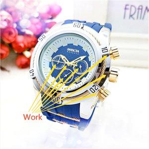 Роскошные мужские часы все работы дополнительный циферблат хронограф силиконовой лентой кварцевые часы Инвикта личности светящийся дисплей, часы Relojes подарков