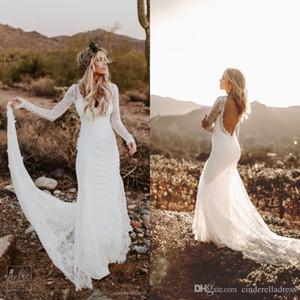 Сельский Страна Свадебные платья с длинными рукавами 2020 Modest Бич Backless Bohemian кружева свадебное платье халат де mariée
