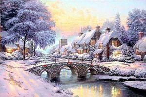 A123 # Thomas Kinkade Булыжник Рождество Home Decor расписанной HD картины Печать холст, масло Wall Art Pictures 200129