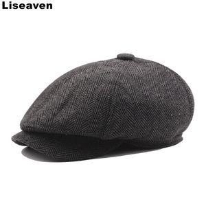 Casual Liseaven hombres del casquillo de las boinas las gorras de moda rayada Beret