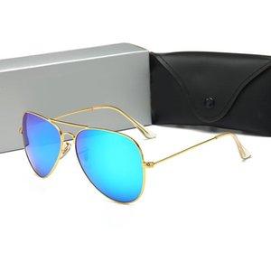 Ins Sıcak Marka Tasarımcı Metal Güneş gözlüğü Erkekler Kadınlar Moda Gözlük Retro Aviator Güneş ücretsiz vaka ve kutu ile Gözlük Shades óculos gözlük