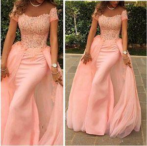 Elegantes vestidos de noche largos de melocotón 2019 Mermaid Scalloped Cap manga Top Lace Floor Length Pink Arabic Style Prom Dresses BO9049