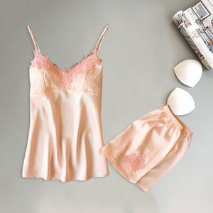 Brand women's sexy lace pajamas sets short pants & sleeveless tops two pieces female nighties summer young girls homewear H3i
