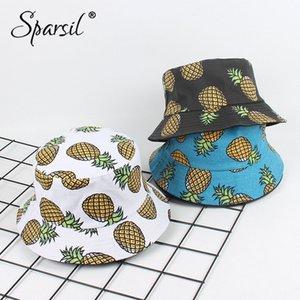 Patrón del sombrero de frutas lienzo Sparsil unisex del verano Playa del pescador doble cara usable casquillo del ocio Protección Solar Cubo Chapeau