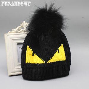 FURANDOWN женщин шлема зимы тавра Fur Pompom Hat Cap Дьявол Pattern Вязаные Шапочки для дам Y191112