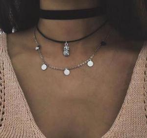 19 estilos de Bohemia piña colgante en capas collar de terciopelo Negro Gargantilla regalo para las mujeres joyería de moda de chicas Collier ALXY01