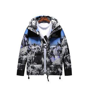 Mens Parka Giacche invernali Camouflage Snow Mountain Stampa caldo con cappuccio Zipper Cappotti modo maschio inverno Cargo Parka