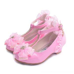 Motivo ULKNN bambini per la ragazza abito da sposa strass Amore Cuore farfalla pizzo Mary Jane piatte scarpe tacco alto bambini principessa Shoes