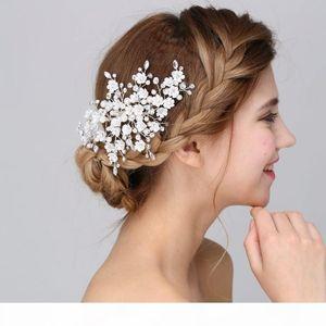 beijia New Arrival Handmade Floral Bridal Hair Accessories Clip Comb Wedding Headpiece Pearl Crystal Tiara Women Headwear