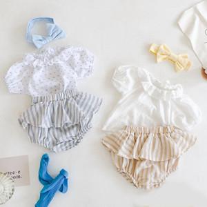 Facejoyous 3шт Новорожденные Дети ребёнки Одежда Набор цветочные с коротким рукавом рубашки топы + полосатые шорты + повязки Наряды одежды