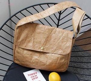 2020 Korean Version Of The Postman Shoulder Bag Fashion Old Washed Messenger Bag Simple Kraft Paper Wrinkled Handbag