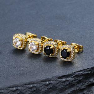 Мужские Хип-хоп Серьги Степов Ювелирные Изделия Высокое Качество Мода Круглые Золотые Серебряные Черные Алмазные Серьги для мужчин