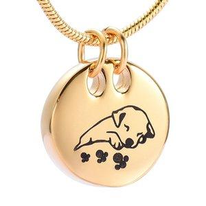DJX9941 Schlafen Gold Hund Feuerbestattung Halskette Runde Form Edelstahl Pet Memorial Urne Anhänger Beerdigung Andenken Schmuck für Asche