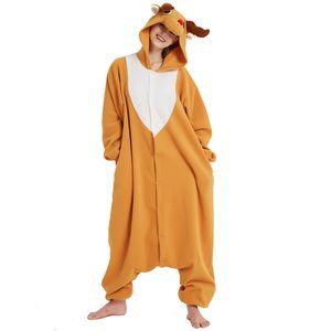 Adulto Kigurumi Natale Cervo Tutina Anime Pile Cosplay Costume Elk Pigiama Blu Halloween Carnevale Tuta Sciolto Masquerade Outfit